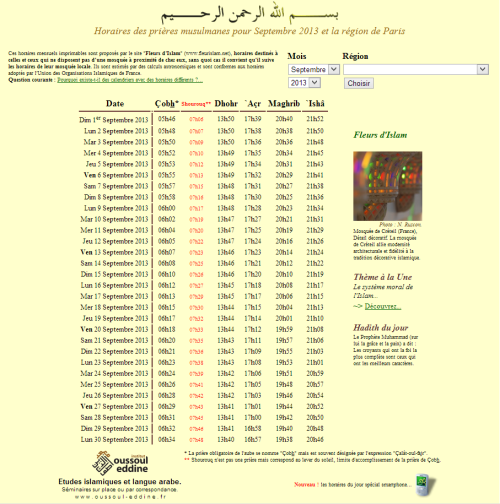 horaire prière musulmane